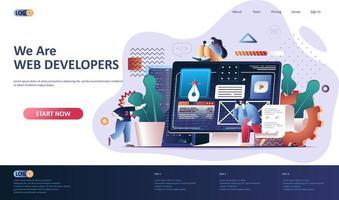 modèle de page de destination plate de développement Web