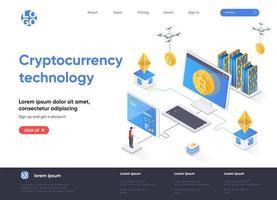 page de destination isométrique de la technologie de crypto-monnaie vecteur