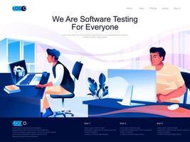 nous testons des logiciels pour tout le monde page de destination vecteur