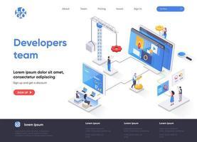 page de destination isométrique de l'équipe de développeurs