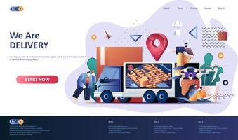 modèle de page de destination plate de service de livraison