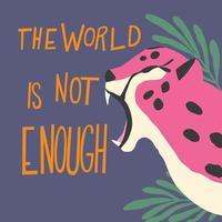 Gros chat guépard rose rugissant sur fond violet