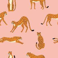 modèle sans couture avec guépards gros chat dessinés à la main vecteur