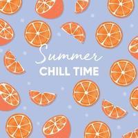 slogan de typographie de temps de refroidissement d'été et oranges fraîches vecteur