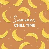 slogan de typographie de temps de fraîcheur d'été et bananes fraîches