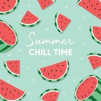 slogan de typographie de temps de détente d'été et pastèque