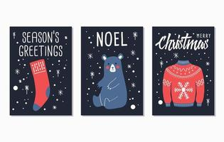 joyeux noël et bonne année cartes de lettrage
