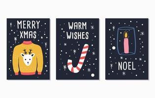joyeux noël et bonne année cartes de lettrage vecteur