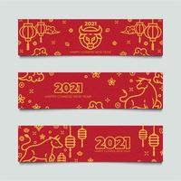 ensemble de bannières de nouvel an chinois bœuf doré vecteur