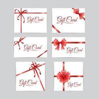 carte-cadeau avec ruban rouge vecteur