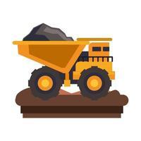 Vue latérale isolée de machines de véhicule minier