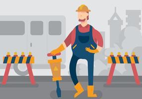 Tradesman Working In City Vector