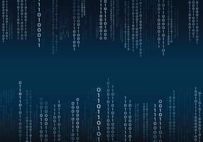 Texte binaire bleu dans un fond de style matriciel