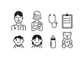 Icônes vectorielles libres de pédiatre vecteur