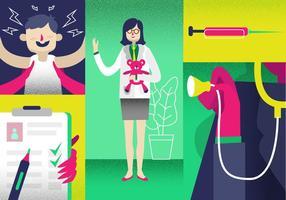 Femme, pédiatrie, médicale, vérifier, liste, vecteur, Illustration