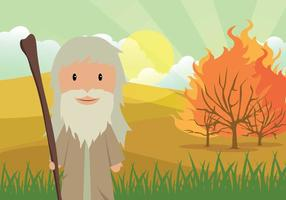 Moïse libre et le vaisseau brûlant avec l'illustration du paysage du désert vecteur