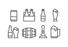 Set d'icônes de bière vecteur