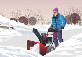 Femme utilisant un souffleuse à neige vecteur