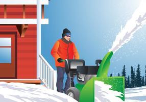 Homme utilisant la souffleuse à neige vecteur