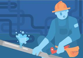 Tradesman Working on Pipes Vector