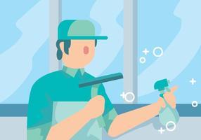 Vecteur de commerçant de nettoyage de vitres