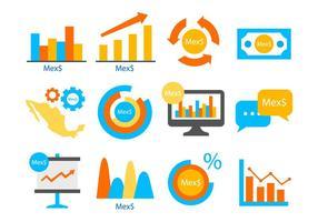 Vecteur d'icônes d'éléments d'information infographiques de Peso mexicain gratuit