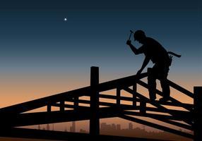 Vecteur de silhouette de construction de commerçant libre