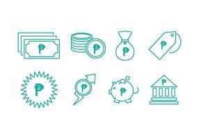 Icônes de ligne de monnaie en pesos libres