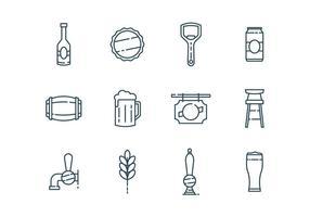 Icônes de bière et de bar vecteur