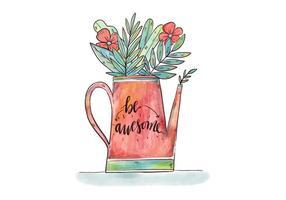 Arrosage de jardin d'aquarelle avec des feuilles et des fleurs botaniques et citation de motivation vecteur