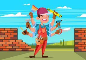 Handyman commerçant tenant beaucoup d'outils