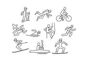 Vecteur libre d'icône de ligne de sport extrême libre