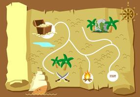 Carte du trésor vecteur gratuit
