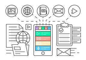 Illustration d'application mobile linéaire vecteur