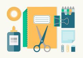 Vecteur de conception plat gratuit retour à l'école éléments essentiels