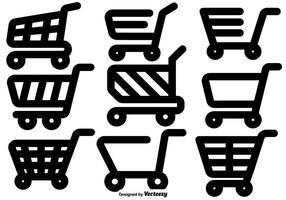 Ensemble vectoriel d'icônes plates de panier de supermarché