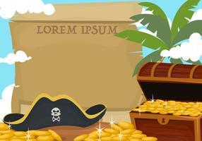 Bannière de pirate avec le trésor