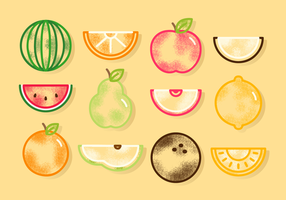 Vecteurs de fruits mignons gratuits vecteur