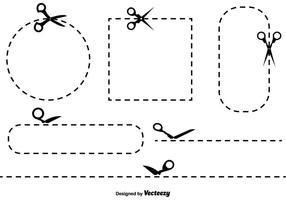 Vector Cut Here Symboles et icônes de couleurs Set