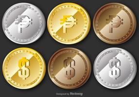 Ensemble de pièces de monnaie de vecteur