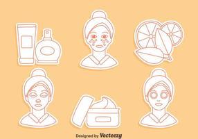 Vecteur d'icônes de ligne de dermatologie de la peau