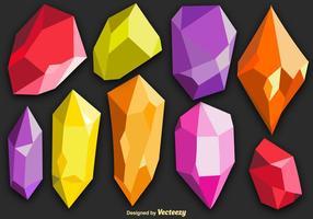 Ensemble de cristaux colorés à quartz colorés vecteur