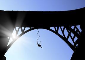 Bungee bridge silhouette vecteur gratuit