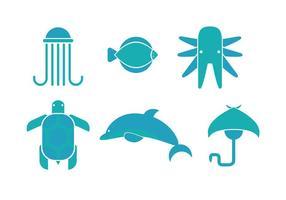 Vecteurs d'icônes d'animaux de mer vecteur
