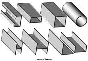 Ensemble vectoriel de poutre grise