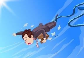 Homme d'affaires faisant un vecteur de saut à l'élastique