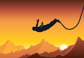Bungee sunset silhouette vecteur gratuit