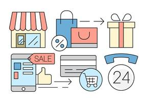 Icônes gratuites de magasinage en ligne vecteur