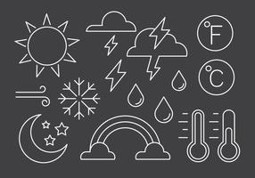 Symboles météorologiques linéaires gratuits vecteur