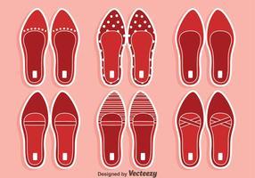 Vecteurs de pantoufles rouges rubis